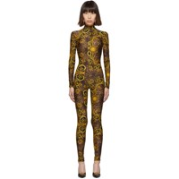 Versace Jeans Couture Brown And Yellow Leopard Barocco Catsuit