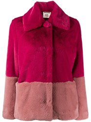 Semicouture Faux Fur Fitted Jacket Pink