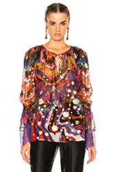 Roberto Cavalli Printed Woven Blouse In Abstract Metallics Purple Red Abstract Metallics Purple Red