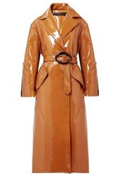 Ellery Nine To Five Pod Faux Patent Leather Trench Coat Tan