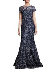 David Meister Embroidered Mermaid Gown Navy Silver