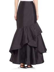 Teri Jon By Rickie Freeman Long Ruffle Taffeta Skirt Black