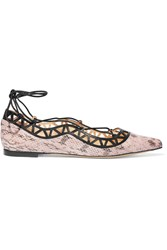 Bionda Castana Aida Cutout Snake Effect Leather Point Toe Flats Purple
