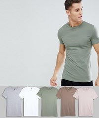 Asos Design Muscle Fit T Shirt With Crew Neck And Stretch 5 Pack Save D W G S W Multi
