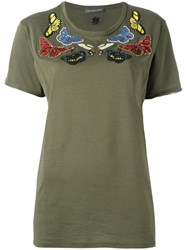 Alexander Mcqueen Embroidered Butterfly T Shirt Green