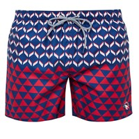 Ted Baker Opah Colour Block Geo Swim Shorts Navy Red