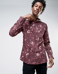 Noose And Monkey Skinny Shirt In All Over Floral Print Burgundy Red