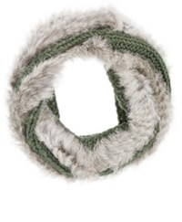 Buji Baja Women's Fur Knit Wool Blend Infinity Scarf Grey
