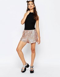 Jaded London Sequin Shorts Gold