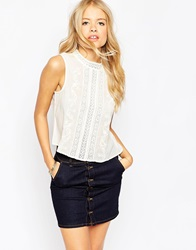 Asos Sleeveless Vintage Embroidered High Neck Top Cream