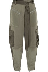 3.1 Phillip Lim Cropped Silk Satin Paneled Twill Pants Army Green
