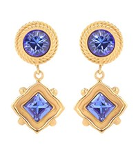 Dolce And Gabbana Crystal Clip On Earrings Blue