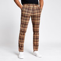 River Island Brown Check Skinny Smart Trousers