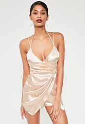 Missguided Nude Silky Asymmetric Ruched Playsuit