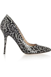 Lucy Choi London Aster Leopard Print Patent Leather Pumps Gray