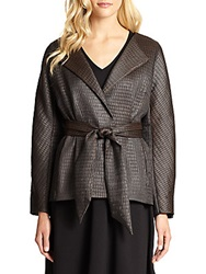Josie Natori Chintz Tie Front Jacket Brown