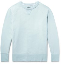 Rag And Bone Racer Loopback Stretch Cotton Jersey Sweatshirt Sky Blue
