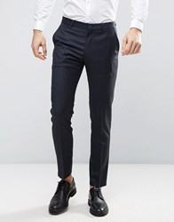 Asos Wedding Slim Suit Trouser In Navy 100 Wool Navy