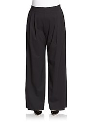 Lafayette 148 New York Plus Size Ludlow Pleated Stretch Wool Pants Black