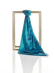 Shanghai Tang Chinese Tales Silk Printed Square Scarf Teal