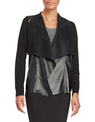 Michael Michael Kors Petite Faux Leather Trimmed Cardigan Black