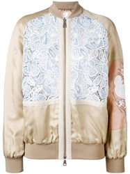 N 21 No21 Embroidered Bomber Jacket Nude Neutrals