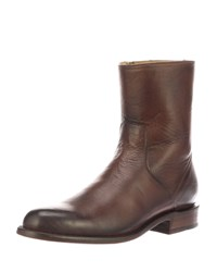 Lucchese Jonah Burnished Leather Dress Boots Dark Brown