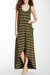 Michael Stars Side Pocket Racerback Maxi Dress Green