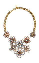 Erickson Beamon Wild Flower Crystal Necklace Gold