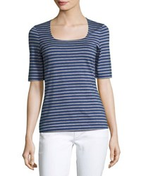 Lafayette 148 New York Square Neck Striped Tee Blue Pattern