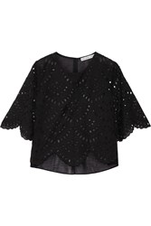 Chelsea Flower Abella Broderie Anglaise Cotton Blend Top Black