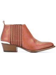 Buttero Metal Detail Ankle Boots Brown