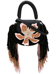 Salar Fringed Flower Tote Women Leather Suede Metal One Size Black