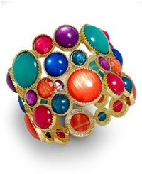 Styleandco. Style And Co. Gold Tone Spice Multicolor Bubble Stretch Bracelet