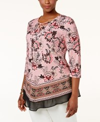 Jm Collection Plus Size Lace Up Floral Print Top Only At Macy's Buttercup Flower