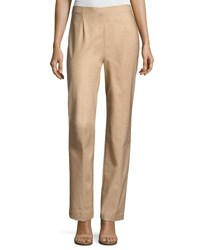 Nic Zoe Perfect Side Zip Straight Leg Pants Tan
