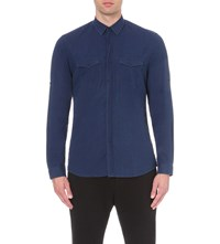 The Kooples Regular Fit Cotton Shirt Dark Blue