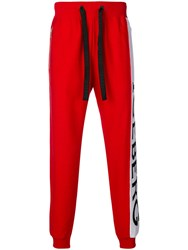 Iceberg Logo Stripe Track Trousers Red