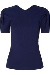 Maggie Marilyn Net Sustain Sweet Like Honey Knotted Cutout Ribbed Jersey Top Midnight Blue