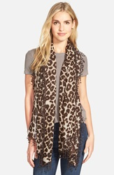 La Fiorentina Animal Print Wool Scarf Brown Leopard