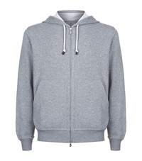 Brunello Cucinelli Zip Front Lounge Hoodie Male Grey
