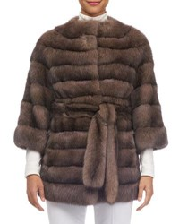 Gorski Barguzine Horizontal Sable Fur Stroller Coat Brown
