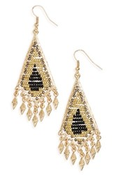 Cara Women's Beaded Drop Earrings Black Gold