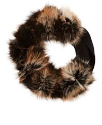 Lanvin Women's Fur And Knit Stole Brown Black Brown Black