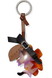 Marni Leather Enamel And Crystal Keychain Brown