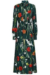 Oscar De La Renta Woman Floral Print Silk Twill Midi Dress Emerald