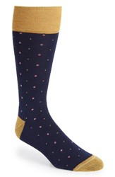 Nordstrom Men's Shop Pin Dot Socks Navy Gold