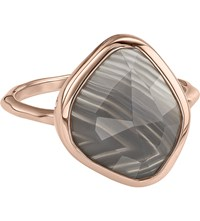 Monica Vinader Siren 18Ct Rose Gold Vermeil And Grey Agate Nugget Stacking Ring