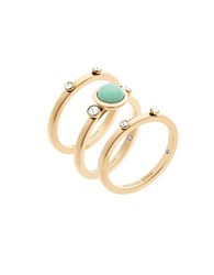 Michael Kors Easy Opulence Blue Moutain Jade And Crystal Studded Stack Rings Gold