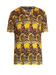 Etro Geometric Print V Neck Linen T Shirt Yellow Multi